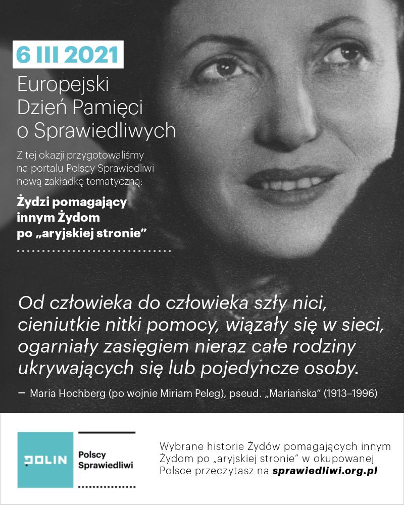 Grafika z okazji Europejskiego Dnia Pamięci o Sprawiedliwych; widoczne zdjęcia przedstawiające Marię Hochberg (Miriam Peleg)