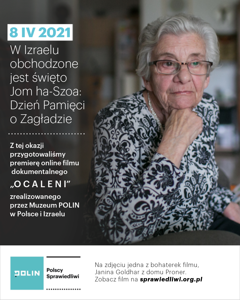 Grafika z okazji Jom ha-Szoa – Dnia Pamięci o Zagładzie w Izraelu; widoczne zdjęcia przedstawiające Janinę Goldhar