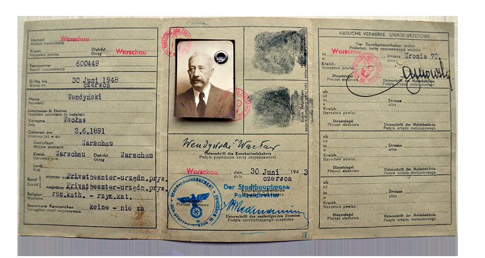 Fałszywa kenkarta (dowód tożsamości) Leona Feinera