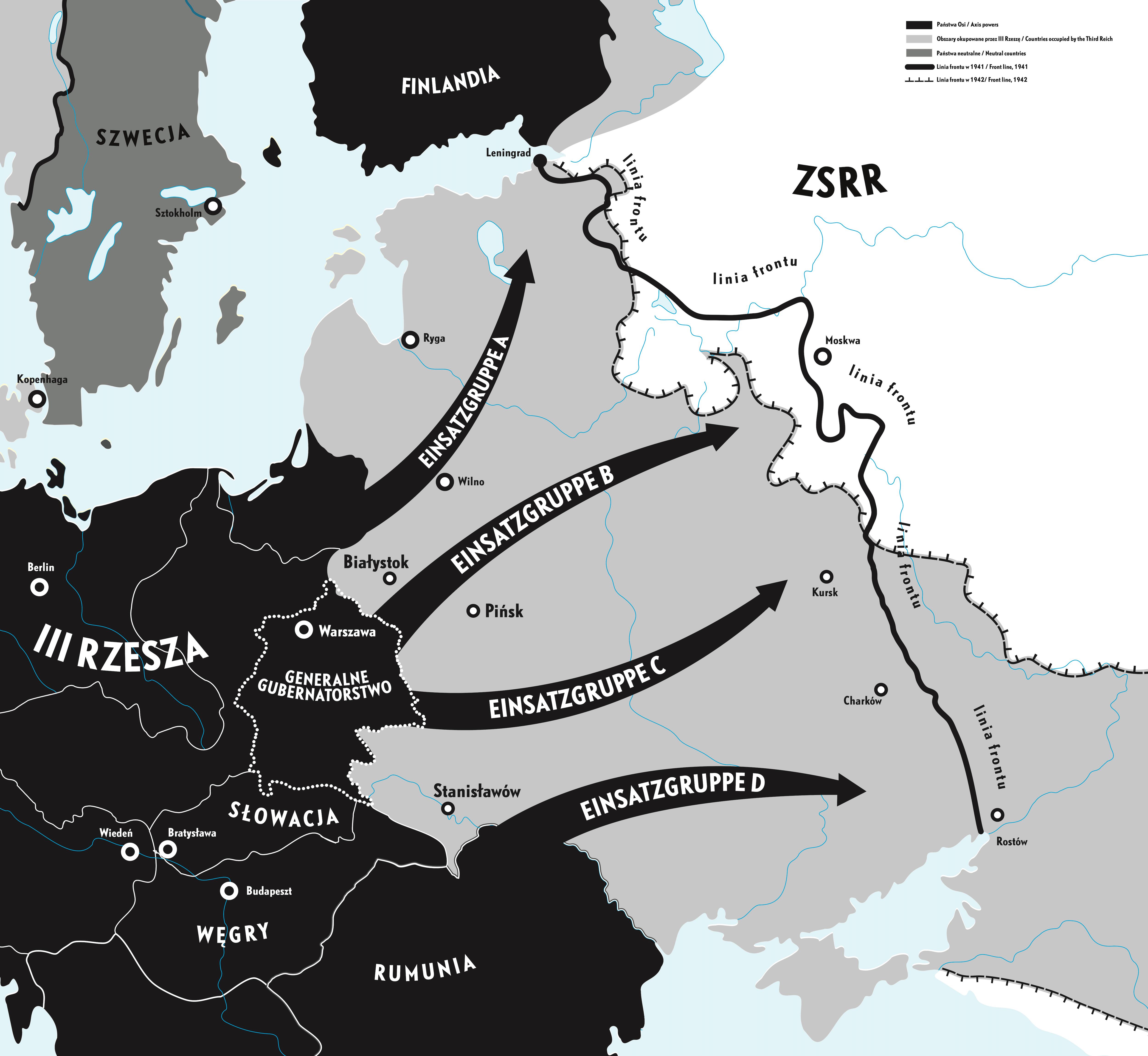 Mapa miejscowości w których latem 1941 r. ludność lokalna dokonała pogromu na Żydach. Rys. Muzeum POLIN