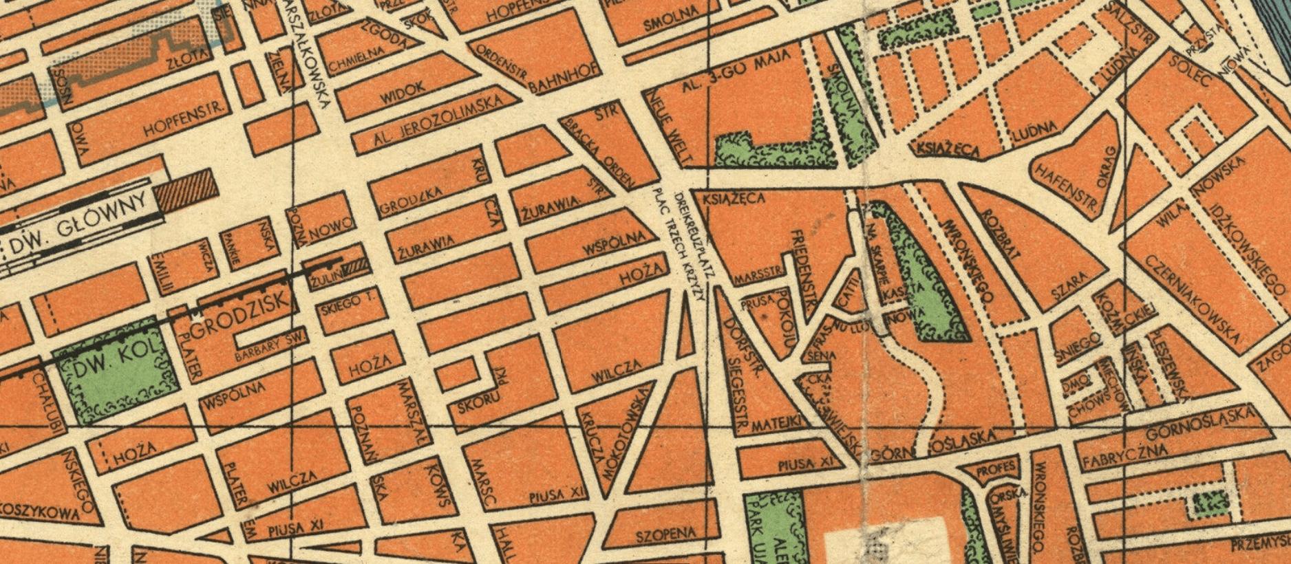 Fragment niemieckiego planu Warszawy z 1941 r., widoczny pl. Trzech Krzyży (niem. Dreikreutzplatz). Fot. Biblioteka Narodowa (Polona); domena publiczna