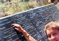Jadwiga Boczar next to plaque with surnames of the The Righteous