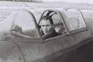 Bronisław Miodowski inside an aircraft of the USSR Military Air Force