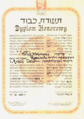 The Witkowski family's diploma of the Righteous Among the Nations