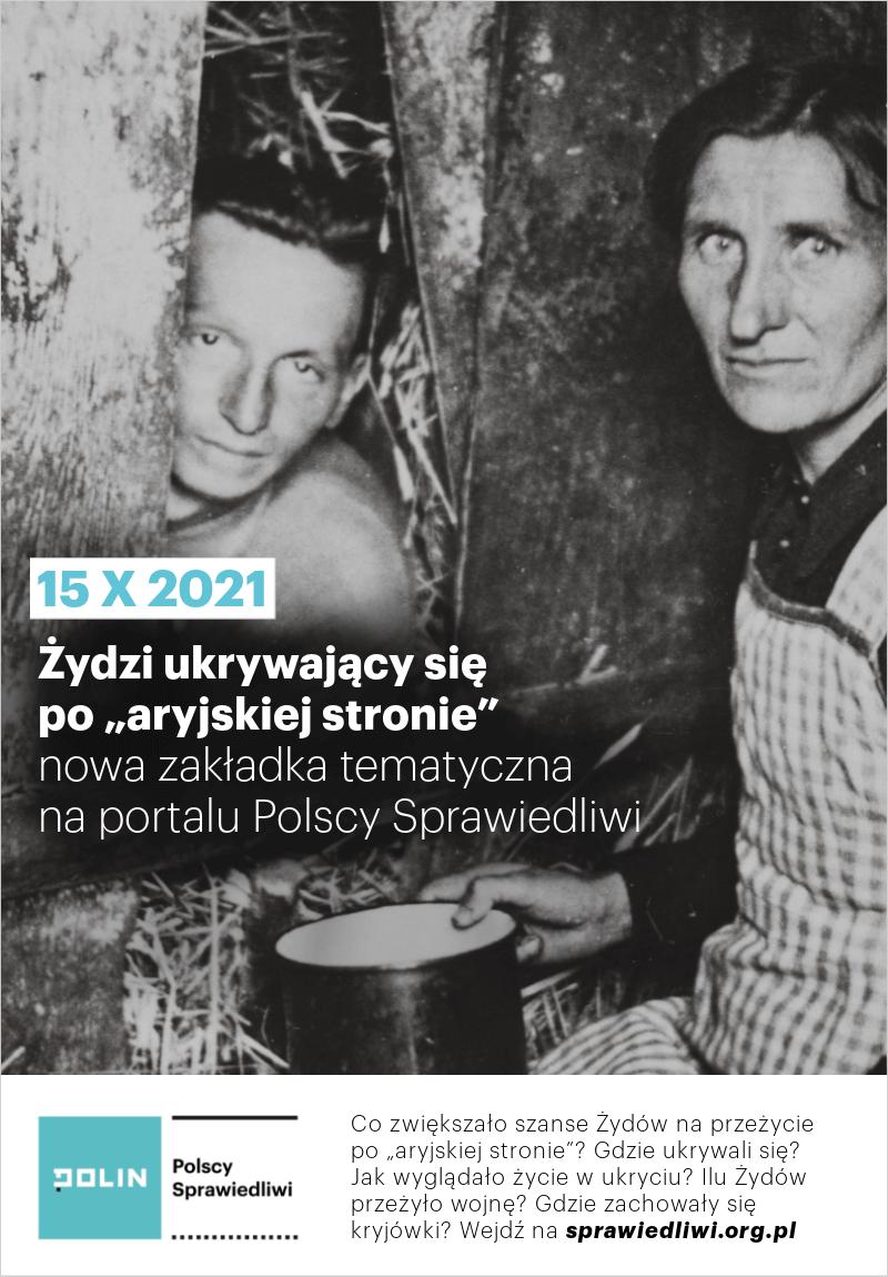 Grafika promująca nową zakładkę na portalu Polscy Sprawiedliwi; widoczne zdjęcia przedstawiające Abrama Grinbauma i Helenę Garbarek w kryjówce. Gąbin, ok 1945. Fot. ŻIH